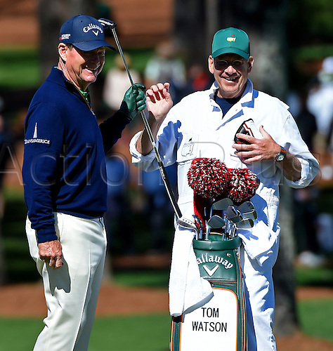 07.04.2016. Augusta, GA, USA. Tom Watson  and his caddie, Neil Oxman  enjoy a laugh on the 7th green during the first round of the Masters Golf Tournament on Thursday, April 7, 2016, at Augusta National Golf Club in Augusta, Ga