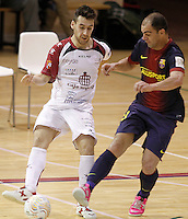 Caja Segovia's Sergio Gonzalez (l) and FC Barcelona Alusport's Wilde Gomes during Spanish National Futsal League match.November 24,2012. (ALTERPHOTOS/Acero) /NortePhoto