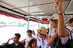 Chao Phraya River, Bangkok, Thailand. Riding the Orange Flag Express Boat