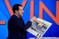 Roma,29 Novembre 2018<br /> Matteo Salvini mostra il calendario della Polizia durante la trasmissione televisiva L'aria che tira