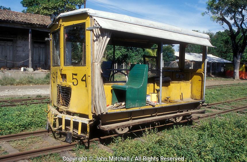 Motorized railway maintenance car at the Sitio del Nino train station in El Salvador, Central America