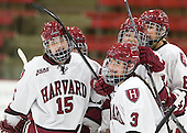 Mary Parker (Harvard - 15), Briana Mastel (Harvard - 17), Sarah Edney (Harvard - 3), Samantha Reber (Harvard - 12), Hillary Crowe (Harvard - 8) - The Harvard University Crimson defeated the visiting Princeton University Tigers 4-0 on Saturday, October 26, 2013, at Bright-Landry Hockey Center in Cambridge, Massachusetts.