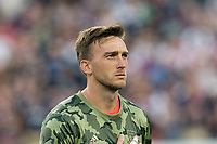 FOXBOROUGH, MA - AUGUST 3: Tyler Miller #1 of Los Angeles FC during a game between Los Angeles FC and New England Revolution at Gillette Stadium on August 3, 2019 in Foxborough, Massachusetts.