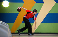 NWA Democrat-Gazette/JASON IVESTER<br /> Greyson Kaufman, Cabot junior, sends the ball down the lane Tuesday, Feb. 14, 2017, during the 7A-6A state tournament at Fast Lane Entertainment in Lowell.