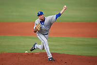 Dunedin Blue Jays starting pitcher Tayler Saucedo (16) during a game against the Charlotte Stone Crabs on June 5, 2018 at Charlotte Sports Park in Port Charlotte, Florida.  Dunedin defeated Charlotte 9-5.  (Mike Janes/Four Seam Images)