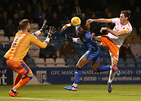 Blackpool's Ben Heneghan forces a save from Gillingham's Tomas Holy<br /> <br /> Photographer Rachel Holborn/CameraSport<br /> <br /> The EFL Sky Bet League One - Gillingham v Blackpool - Tuesday 6th November 2018 - Priestfield Stadium - Gillingham<br /> <br /> World Copyright &copy; 2018 CameraSport. All rights reserved. 43 Linden Ave. Countesthorpe. Leicester. England. LE8 5PG - Tel: +44 (0) 116 277 4147 - admin@camerasport.com - www.camerasport.com