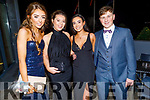 Sarah Barrett, Caragh O'Neill, Jane Sacit and Kestutis Kaletia attending the Mercy Mounthawk Debs in the Ballyroe Heights Hotel on Friday.