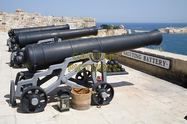 Cannons, the noon day gun, Saluting Battery, Upper Barracca Gardens, and Grand Harbour, Valletta, Malta