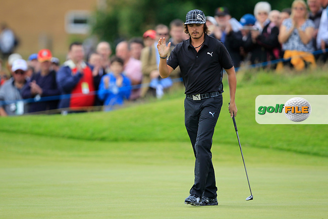 Rickie Fowler (USA) sinks his birdie putt on the 4th green during Friday's Round 2 of the 141st Open Championship at Royal Lytham & St.Annes, England 20th July 2012 (Photo Eoin Clarke/www.golffile.ie)