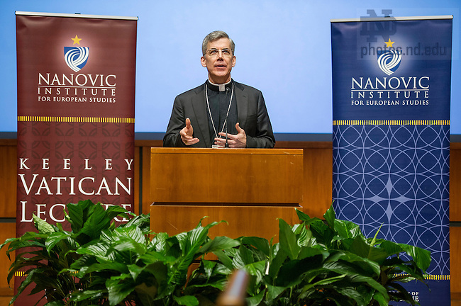Jan. 15, 2015; Archbishop Charles Brown, Apostolic Nuncio to Ireland and ND graduate, gives the 2015 Terrence R. Keeley Vatican Lecture in the Jordan Auditorium. (Photo by Barbara Johnston/University of Notre Dame)