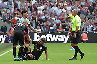 Felipe Anderson receives a yellow card during West Ham United vs Manchester City, Premier League Football at The London Stadium on 10th August 2019