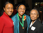 Velma Laws,center, with her mother Jean Gaines and her daughter Aliya Laws at the Great Women in Government reception sponsored by the Girl Scouts of San Jancinto Council at the Julia Idelson Library Wednesday  Nov. 18,2009. (Dave Rossman/For the Chronicle)