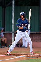 Elizabethton Twins right fielder Trevor Larnach (9) at bat during a game against the Bristol Pirates on July 28, 2018 at Joe O'Brien Field in Elizabethton, Tennessee.  Elizabethton defeated Bristol 5-0.  (Mike Janes/Four Seam Images)