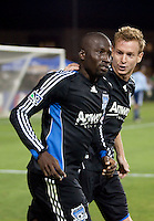 Cornell Glen (left) and Chris Leitch (right) celebrate Glen's goal. The San Jose Earthquakes tied DC United 2-2 at Buck Shaw Stadium in Santa Clara, California on July 25, 2009.