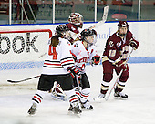 Ali Bielawski (Northeastern - 4), Annie Hogan (Northeastern - 3), Molly Schaus (Boston College - 30), Shannon Webster (Boston College - 12) - The Boston College Eagles defeated the Northeastern University Huskies 3-1 in the opening round of the Beanpot on Tuesday, February 3, 2009, at Matthews Arena in Boston, Massachusetts.