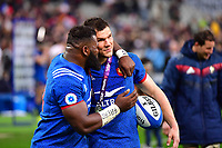 (L-R) Dany Preso of France congratulates man of the match Remy Grosso of France following the RBS Six Nations match between France and England at Stade de France on March 10, 2018 in Paris, France. (Photo by Dave Winter/Icon Sport)
