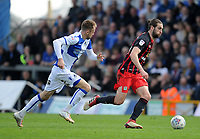 Bristol Rovers' Chris Lines vies for possession with Blackburn Rovers' Charlie Mulgrew<br /> <br /> Photographer Ashley Crowden/CameraSport<br /> <br /> The EFL Sky Bet League One - Bristol Rovers v Blackburn Rovers - Saturday 14th April 2018 - Memorial Stadium - Bristol<br /> <br /> World Copyright &copy; 2018 CameraSport. All rights reserved. 43 Linden Ave. Countesthorpe. Leicester. England. LE8 5PG - Tel: +44 (0) 116 277 4147 - admin@camerasport.com - www.camerasport.com