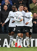 Derby County's Mason Mount celebrates scoring his side's fourth goal and completing a personal hat-trick with team mate Ashley Cole <br /> <br /> Photographer Andrew Kearns/CameraSport<br /> <br /> The EFL Sky Bet Championship - Derby County v Bolton Wanderers - Saturday 13th April 2019 - Pride Park - Derby<br /> <br /> World Copyright &copy; 2019 CameraSport. All rights reserved. 43 Linden Ave. Countesthorpe. Leicester. England. LE8 5PG - Tel: +44 (0) 116 277 4147 - admin@camerasport.com - www.camerasport.com