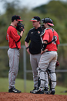 Illinois State Redbirds pitching coach Michael Kellar talks with pitcher Jacob Hendren (35) and catcher Blake Molitor (42) during a game against the Georgetown Hoyas on March 7, 2015 at North Charlotte Regional Park in Port Charlotte, Florida.  Illinois State defeated Georgetown 2-1.  (Mike Janes/Four Seam Images)