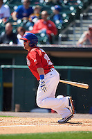 Buffalo Bisons outfielder Caleb Gindl (15) at bat during a game against the Louisville Bats on May 2, 2015 at Coca-Cola Field in Buffalo, New York.  Louisville defeated Buffalo 5-2.  (Mike Janes/Four Seam Images)