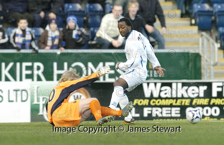 03/02/2007       Copyright Pic: James Stewart.File Name : sct_jspa11_falkirk_v_st_johnstone.KASPER SCHIMEICHEL SAVES AT THE FEET OF JASON SCOTLAND....James Stewart Photo Agency 19 Carronlea Drive, Falkirk. FK2 8DN      Vat Reg No. 607 6932 25.Office     : +44 (0)1324 570906     .Mobile   : +44 (0)7721 416997.Fax         : +44 (0)1324 570906.E-mail  :  jim@jspa.co.uk.If you require further information then contact Jim Stewart on any of the numbers above.........