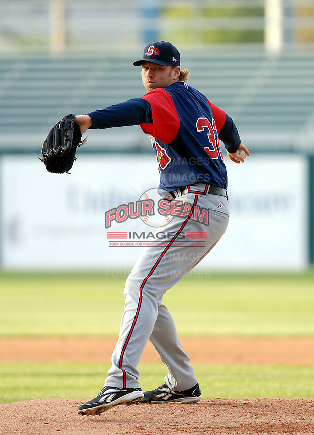 RHP Tommy Hanson of the Gwinnett Braves at McCoy Stadium in Pawtucket RI, 4-30-09  (Photo by Ken Babbitt/Four Seam Images)