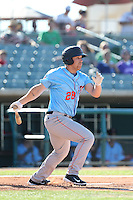 Dennis Raben  #28 of the Inland Empire 66ers bats against the Lancaster JetHawks at The Hanger on May 26, 2014 in Lancaster, California. Lancaster defeated Inland Empire, 6-5. (Larry Goren/Four Seam Images)
