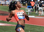 English Fardner of the USA (C) wins the Women's 100 meters, B section, on the final day of the Prefontaine Classic at Hayward Field in Eugene, Oregon, USA, 30 MAY 2015. (EPA photo by Steve Dykes)