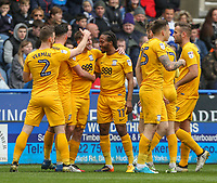 Preston North End's Aidan McGeady, third left, celebrates scoring the opening goal with teammates<br /> <br /> Photographer Alex Dodd/CameraSport<br /> <br /> The EFL Sky Bet Championship - Huddersfield Town v Preston North End - Friday 14th April 2016 - The John Smith's Stadium - Huddersfield<br /> <br /> World Copyright &copy; 2017 CameraSport. All rights reserved. 43 Linden Ave. Countesthorpe. Leicester. England. LE8 5PG - Tel: +44 (0) 116 277 4147 - admin@camerasport.com - www.camerasport.com