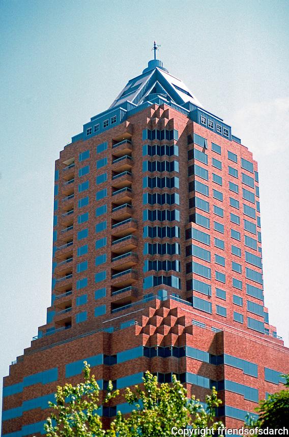 Portland: Koin Center.  Photo '86. 35 story skyscraper, 1984. Residential/commercial building.  Zimmer Gunsul Frasca Partnership. Art Deco style. 222 SW Columbia.