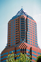 Portland: Koin Center.  Photo '86. 35 story skyscraper, 1984. Residential/commercial building.  Zimmer Gunsul Frasca Partnership. Art Deco style. 222 SW Columbia.