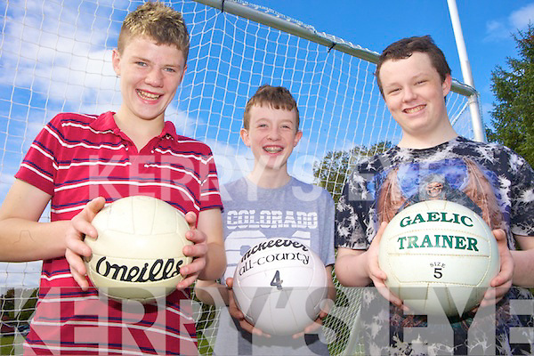 SKILLS: Enjoying the football skills training with Jack O'Connor at Listowel Community College on Friday were l-r: James Relihan, Gavin Stack and Jack Barrett.