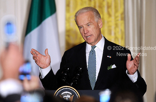 United States Vice President Joe Biden speaks during a St. Patrick's Day reception in the East Room of the White House in Washington, DC, March 17, 2011. .Credit: Olivier Douliery / Pool via CNP