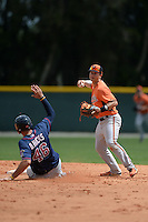 Shortstop Adrian Marin (3) of the Baltimore Orioles organization after forcing out Dalton Hicks (46) sliding in during a minor league spring training game against the Minnesota Twins on March 20, 2014 at Buck O'Neil Complex in Sarasota, Florida.  (Mike Janes/Four Seam Images)
