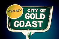 The Gold Coast Boundary sign, Coolangatta,  Queensland, Australia.Photo: Joliphotos.com