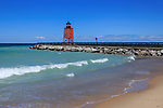 A cute little lighthouse on a perfect summer day, the Charlevoix Pier Light on Lake Michigan at Charlevoix Michigan, Lower Peninsula, USA