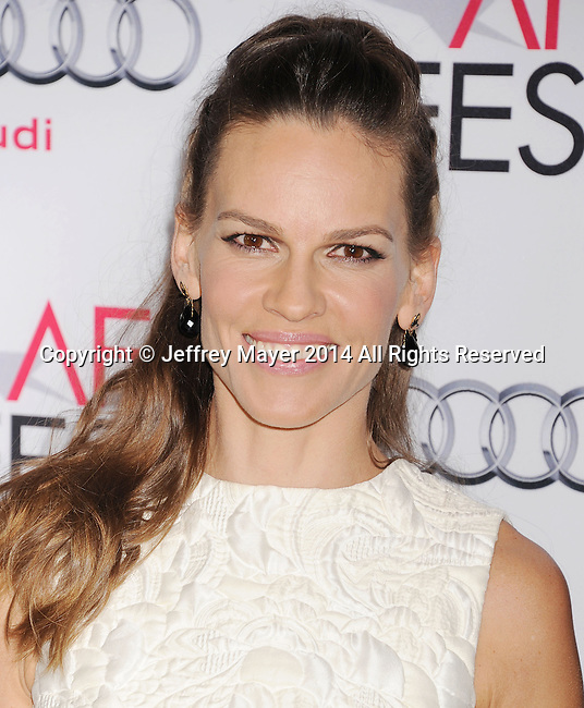 HOLLYWOOD, CA - NOVEMBER 11: Actress Hilary Swank attends the 'The Homesman' premiere during AFI FEST 2014 presented by Audi at the Dolby Theater on November 11, 2014 in Hollywood, California.