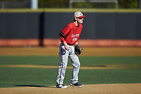 Gardner-Webb Runnin' Bulldogs shortstop Taber Mongero (23) on defense against the Wake Forest Demon Deacons at David F. Couch Ballpark on February 18, 2018 in  Winston-Salem, North Carolina. The Demon Deacons defeated the Runnin' Bulldogs 8-4 in game one of a double-header.  (Brian Westerholt/Four Seam Images)