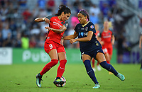 Orlando, FL - Saturday October 14, 2017: Nadia Nadim, Jaelene Hinkle during the NWSL Championship match between the North Carolina Courage and the Portland Thorns FC at Orlando City Stadium.