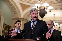 Senator Sheldon Whitehouse, Democrat of Rhode Island, speaks during a press conference following a Democratic Caucus lunch on Capitol Hill in Washington, D.C. on March 12, 2019. Credit: Alex Edelman / CNP/AdMedia