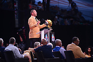 Canton, OH - August 4, 2018: Former Chicago Bears linebacker  Brian Urlacher delivers his Pro Football Hall of Fame enshrinement speech at the Tom Benson Hall of Fame Stadium in Canton, Ohio, August 4, 2018. Urlacher finished his career as the Bears'' all-time leading tackler. (Photo by Don Baxter/Media Images International)