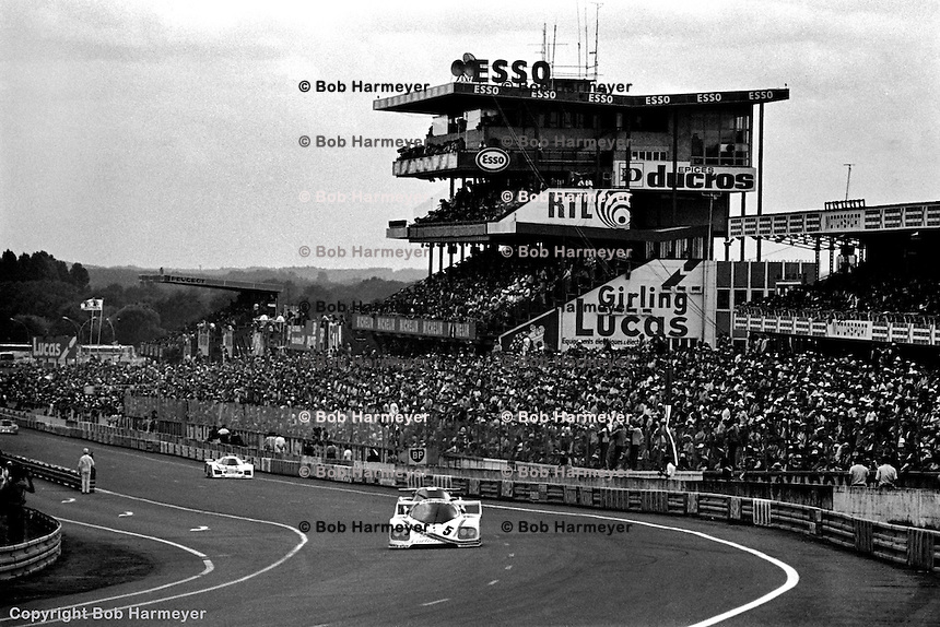 LE MANS, FRANCE: The Porsche CK5 01 of Bill Whittington, Danny Ongais and Ted Field  is driven during the 24 Hours of Le Mans on June 20, 1982, at Circuit de la Sarthe in Le Mans, France.