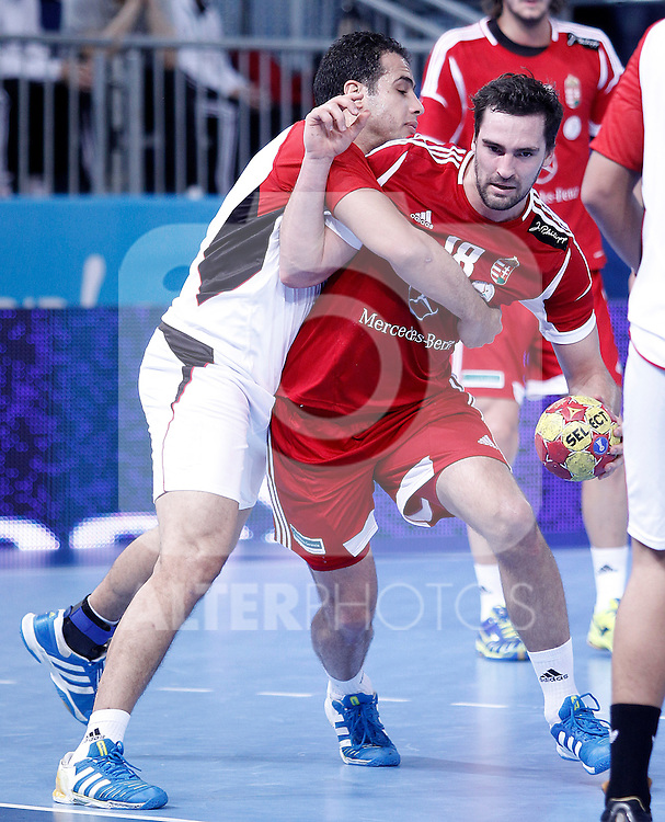 Hungary's Kornel Nagy (r) and Egypt's Omar Gamal during 23rd Men's Handball World Championship preliminary round match.January 12 ,2013. (ALTERPHOTOS/Acero)