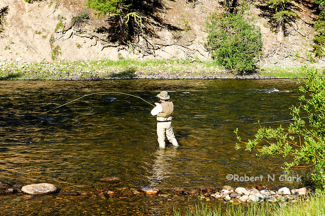 Two fly fishermen catching trout on the Salmon River, Idaho, near the Mormon Bend Campground, downriver of the town of Stanley