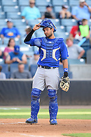 Dunedin Blue Jays catcher Santiago Nessy (43) during a game against the Tampa Yankees on June 28, 2014 at George M. Steinbrenner Field in Tampa, Florida.  Tampa defeated Dunedin 5-2.  (Mike Janes/Four Seam Images)