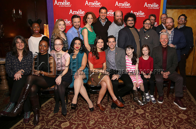"Phillipa Soo and Adam Chanler-Beret with the company attend the ""Amelie"" Broadway Musical Sneak Peek Concert at the Cutting Room on February 10, 2017 in New York City."