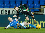 16th March 2018, McDiarmid Park, Perth, Scotland; Scottish Premier League football, St Johnstone versus Hibernian; Steven Anderson of St Johnstone challenges  on Martin Boyle of Hibernian