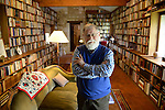 Alberto Manguel, Argentinian writer, at home in his library containing more than 40000 volumes.