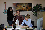 "In their Lawyer Office starring Robert Bogue ""Mario Cash"" and Mandy Bruno ""Danielle Kelly"" with Lisa for makeup/hair - ""Rock Story"" (rock n' roll mystery ensues and unleases band rise to national fame) - screen play by Guiding Light's Robert Bogue and Mandy Bruno. Rock Story which was shot almost all in Orange County has just finished filming in late January. It will be the feature film in the 2014 Hoboken International Film Festival on May 30 (with the festival continuing through June 5) at the Paramount Theatre in Middletown, New York. (Photo by Sue Coflin/Max Photos)"