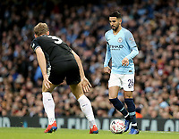 Manchester City's Riyad Mahrez looks to take on Burnley's Charlie Taylor<br /> <br /> Photographer Rich Linley/CameraSport<br /> <br /> Emirates FA Cup Fourth Round - Manchester City v Burnley - Saturday 26th January 2019 - The Etihad - Manchester<br />  <br /> World Copyright © 2019 CameraSport. All rights reserved. 43 Linden Ave. Countesthorpe. Leicester. England. LE8 5PG - Tel: +44 (0) 116 277 4147 - admin@camerasport.com - www.camerasport.com